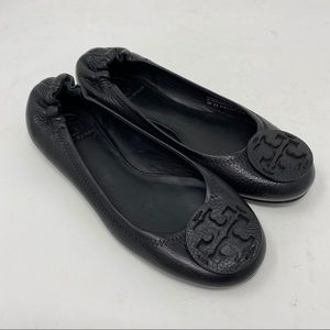 Tory Burch Shoes Reva Tumbled Leather Logo Flats